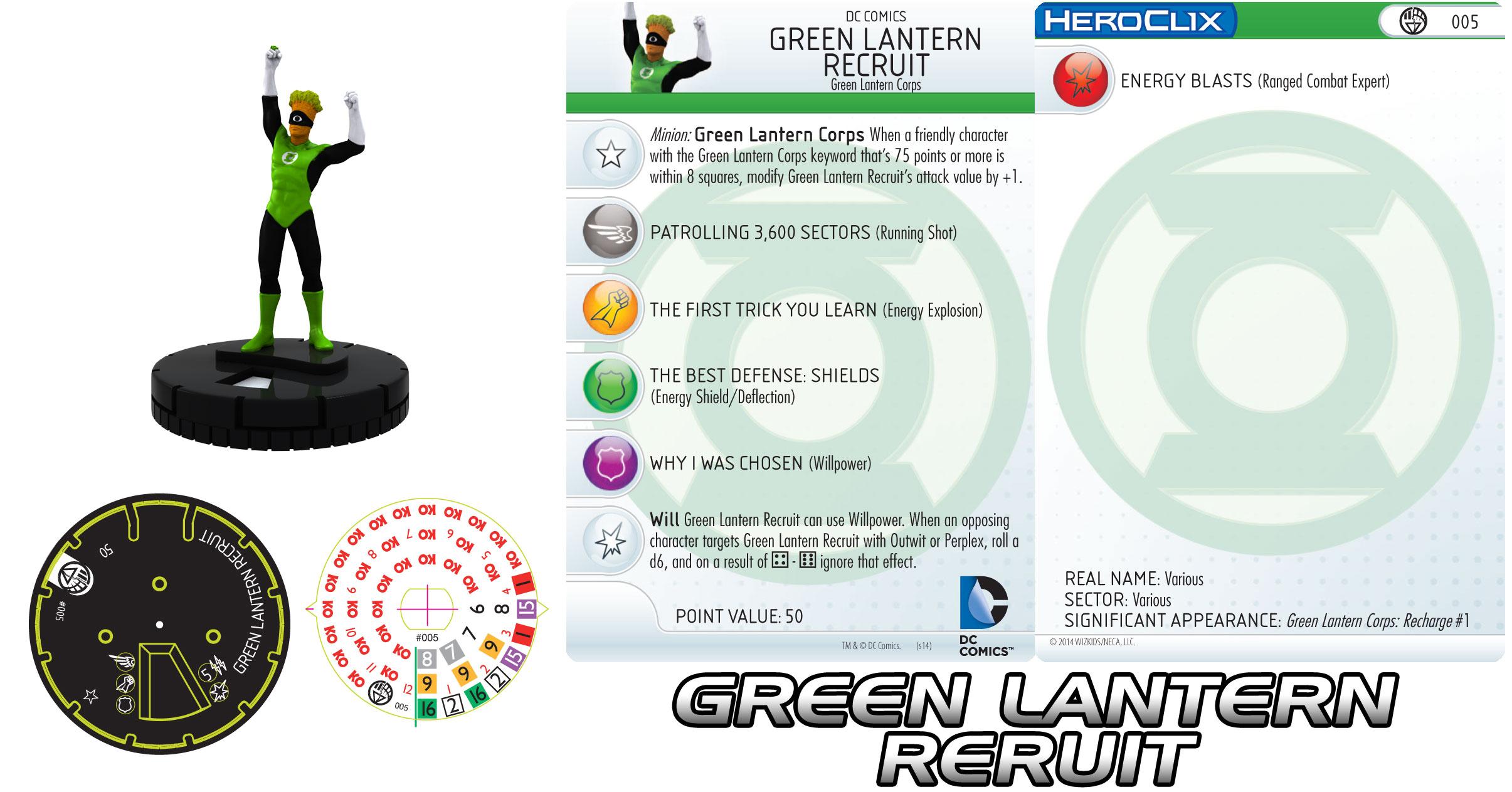 Green Lantern recruit Heroclix figure